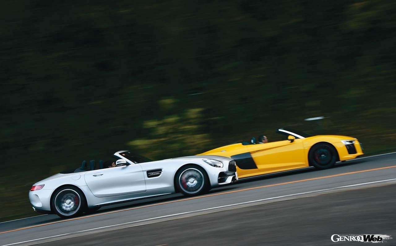 500ps超のオープンカーはスーパースポーツ足り得るか? AMG GT CとR8 スパイダーで検証する【Playback GENROQ 2018】