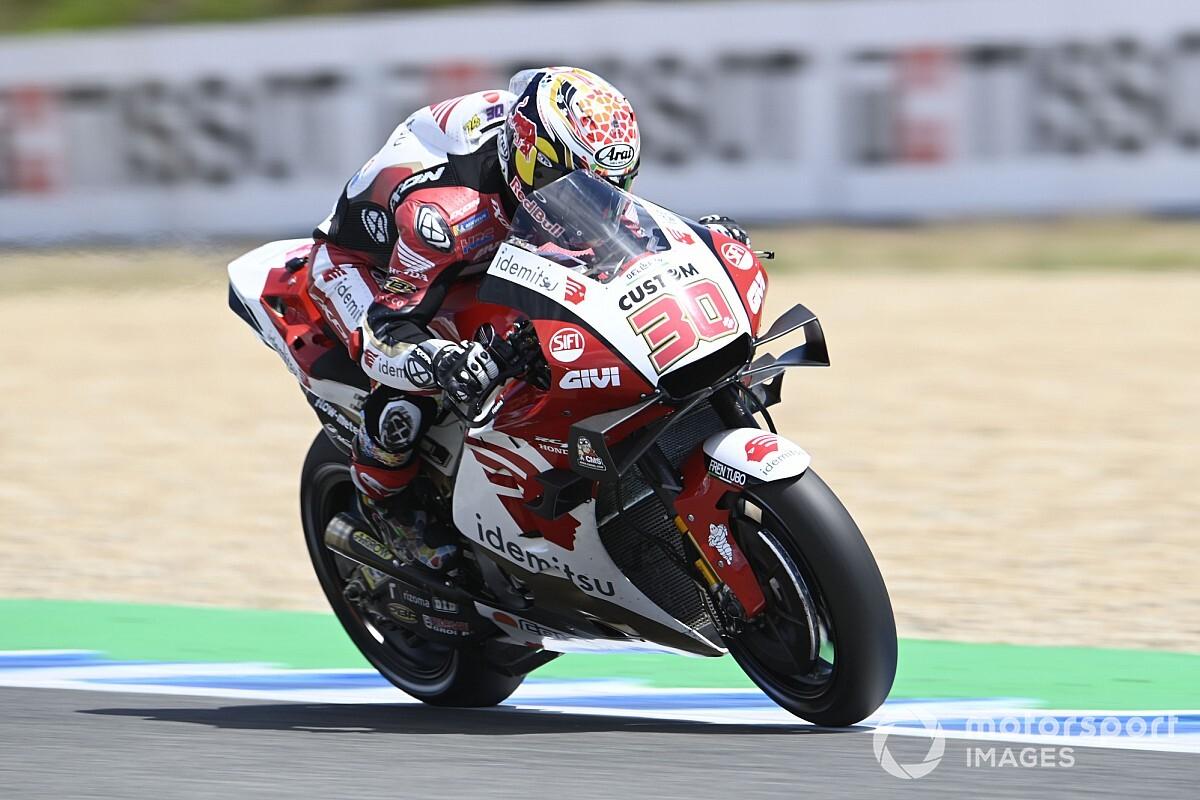 【MotoGP】中上貴晶、初日はホンダ勢トップ6番手。「ポジティブな1日。フィジカル面も問題ない」|スペインGP