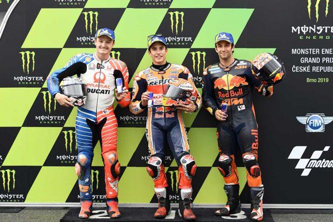 雨のなかスリックタイヤで攻めたマルケス「リスクを冒しすぎたかも」/MotoGP第10戦チェコGP 予選トップ3コメント