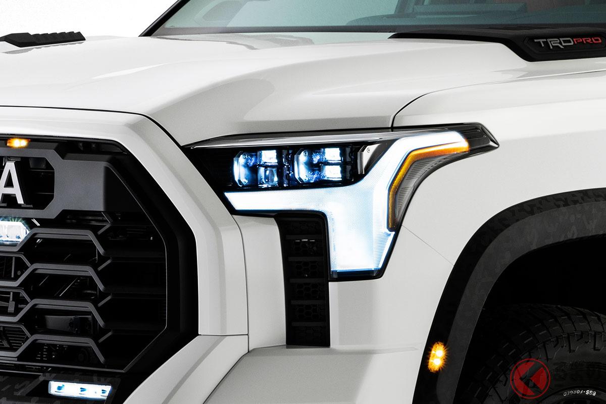デカさ炸裂なトヨタ新型4WD「タンドラ」今秋発表を前に予告画像連発! 10秒動画で見えた装備とは?