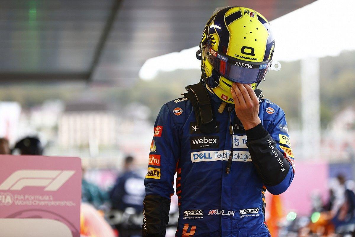 """F1初優勝まであと一歩だった……ランド・ノリス、""""ステイアウト""""の判断を悔やむ「でも、その判断以外は""""満足""""」 F1ロシアGP"""
