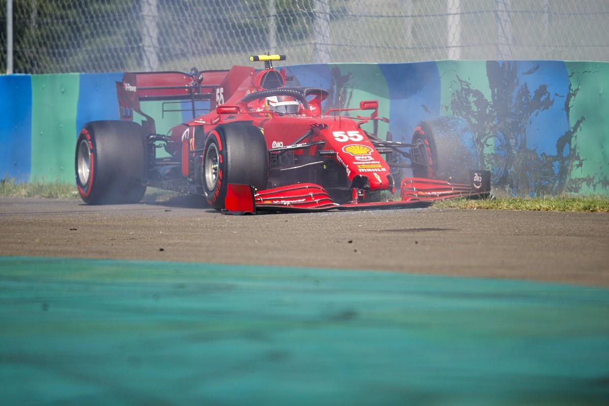 予選Q2で痛恨クラッシュ……サインツJr.は突風に泣く「データを見て、少し冷静になった」|F1ハンガリーGP