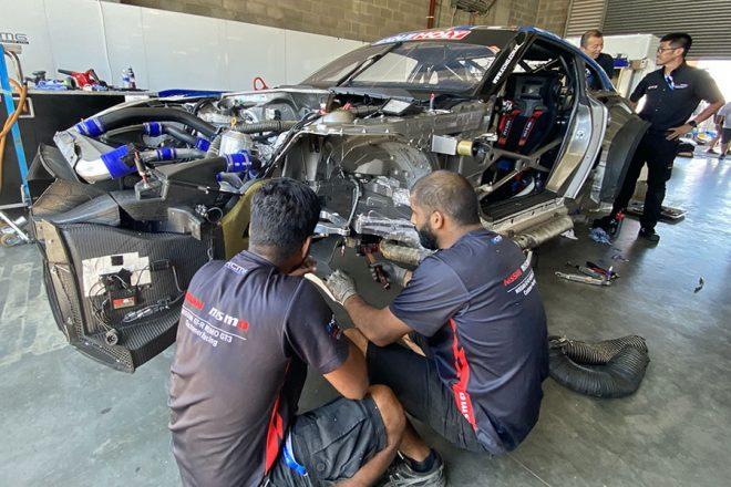 バサースト12時間:KCMG、千代・松田組GT-Rのリタイアを決断。損傷激しく修復困難