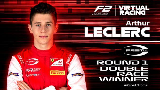 FIA-F2:バーチャルレース第1戦はプレマ・レーシングから参戦のルクレール弟が連勝を飾る