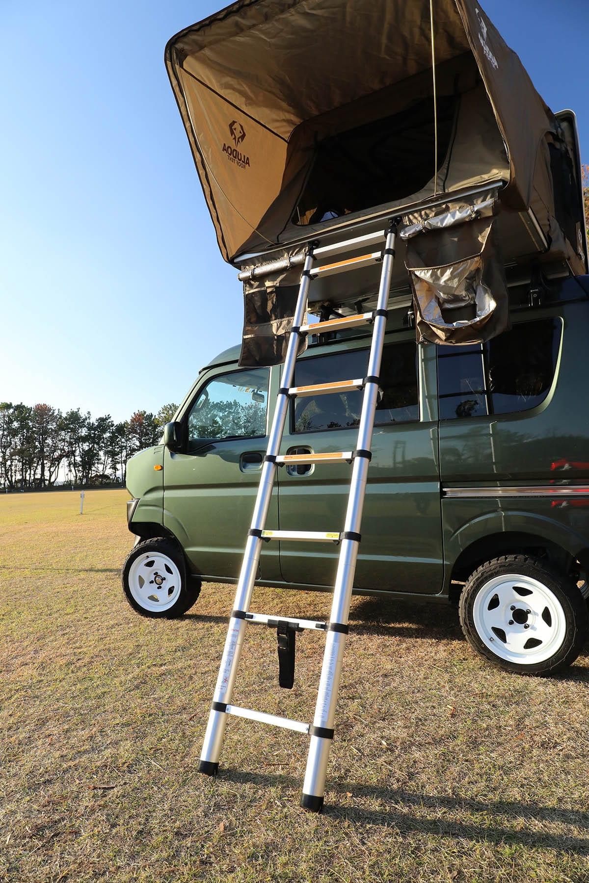 【軽バンだってルーフテント使えば4人で車中泊】ジムニー顔のエブリイ=ジムリィは、見た目はジムニーだけどキャビンが広い!