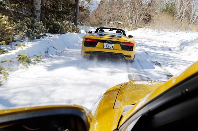 アウディR8スパイダーとQ2で現代版『私をスキーに連れてって』を実践!?
