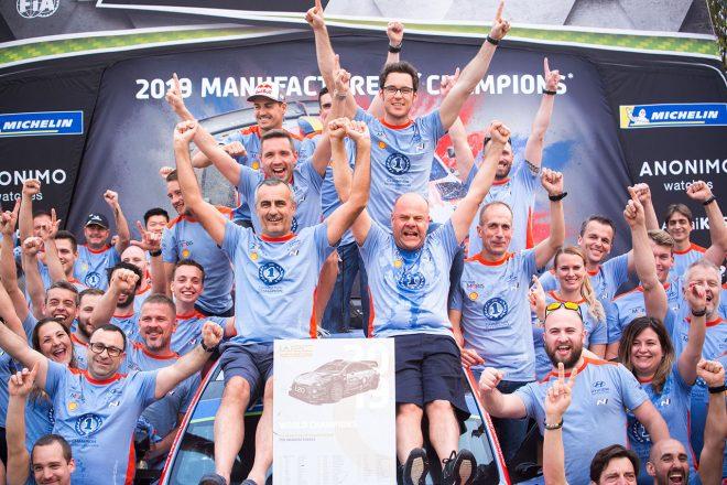 WRC:2019年チーム王者ヒュンダイが祝杯。「チャンピオンを名乗れて幸せ」とヌービル