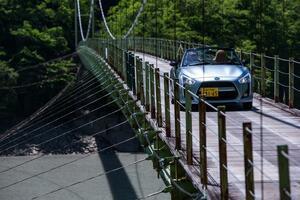 恐怖! クルマで渡れる驚きの吊り橋!【井川湖、そして接岨峡へ(酷道険道 :静岡県)】コペン ローブ