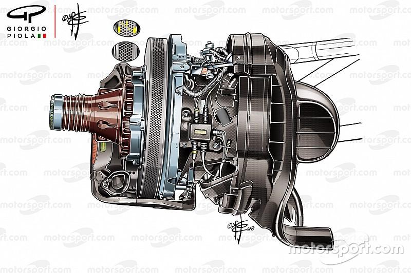 F1メカ解説:フェラーリ、メキシコGPで新世代ブレーキディスク採用。冷却用の開口部は前代未聞の1400以上?