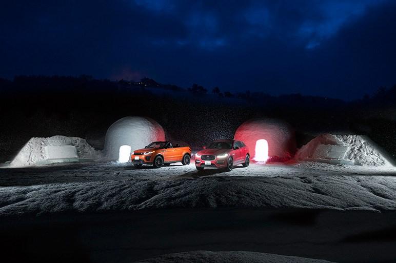 ジャガー・ランドローバー雪上の競演。イヴォーク・コンバーチブルほか計5モデルが駆けた