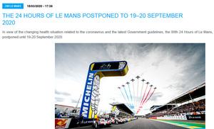 「第88回ル・マン24時間レース」 9月に延期