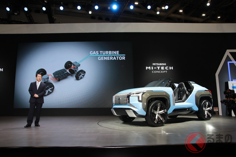 発電用エンジンにガスタービン採用! 三菱のPHEV「マイテック・コンセプト」世界初公開