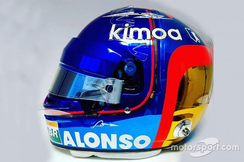 """""""とりあえず最後""""のF1レースに挑むアロンソ。デビュー時のカラーリングも取り入れた、特別仕様ヘルメットを新調"""