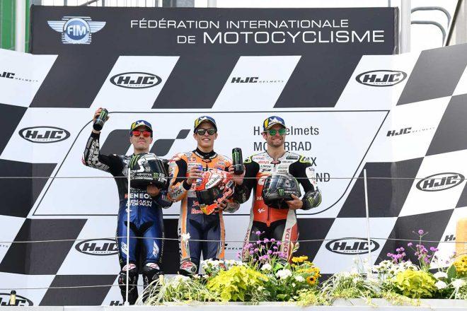 独走で完全優勝のマルケス「最初から最後までリードする戦略だった」/MotoGP第9戦ドイツGP 決勝トップ3コメント