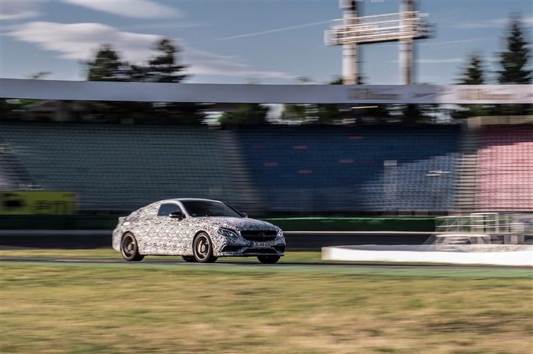 AMG C63クーペがホッケンハイムに登場。発表は9月のフランクフルトMS