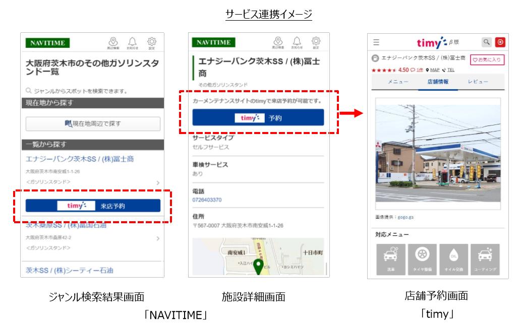 タイミー、「NAVITIME(ナビタイム)」と自動車メンテナンスの予約コンテンツを連携
