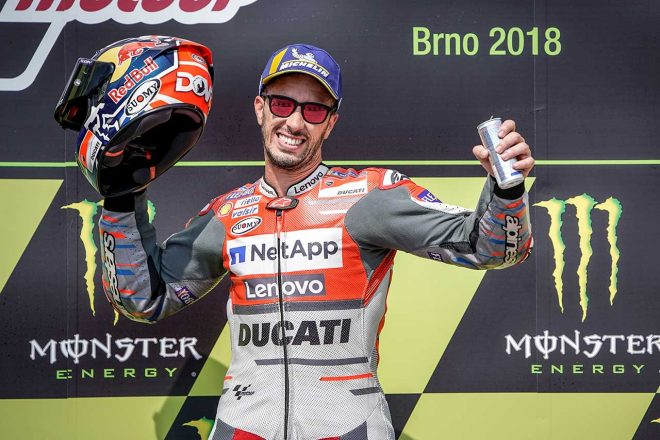 MotoGPチェコGPで今季開幕戦以来の優勝を果たしたドヴィツィオーゾ。「完ぺきな戦略だった」