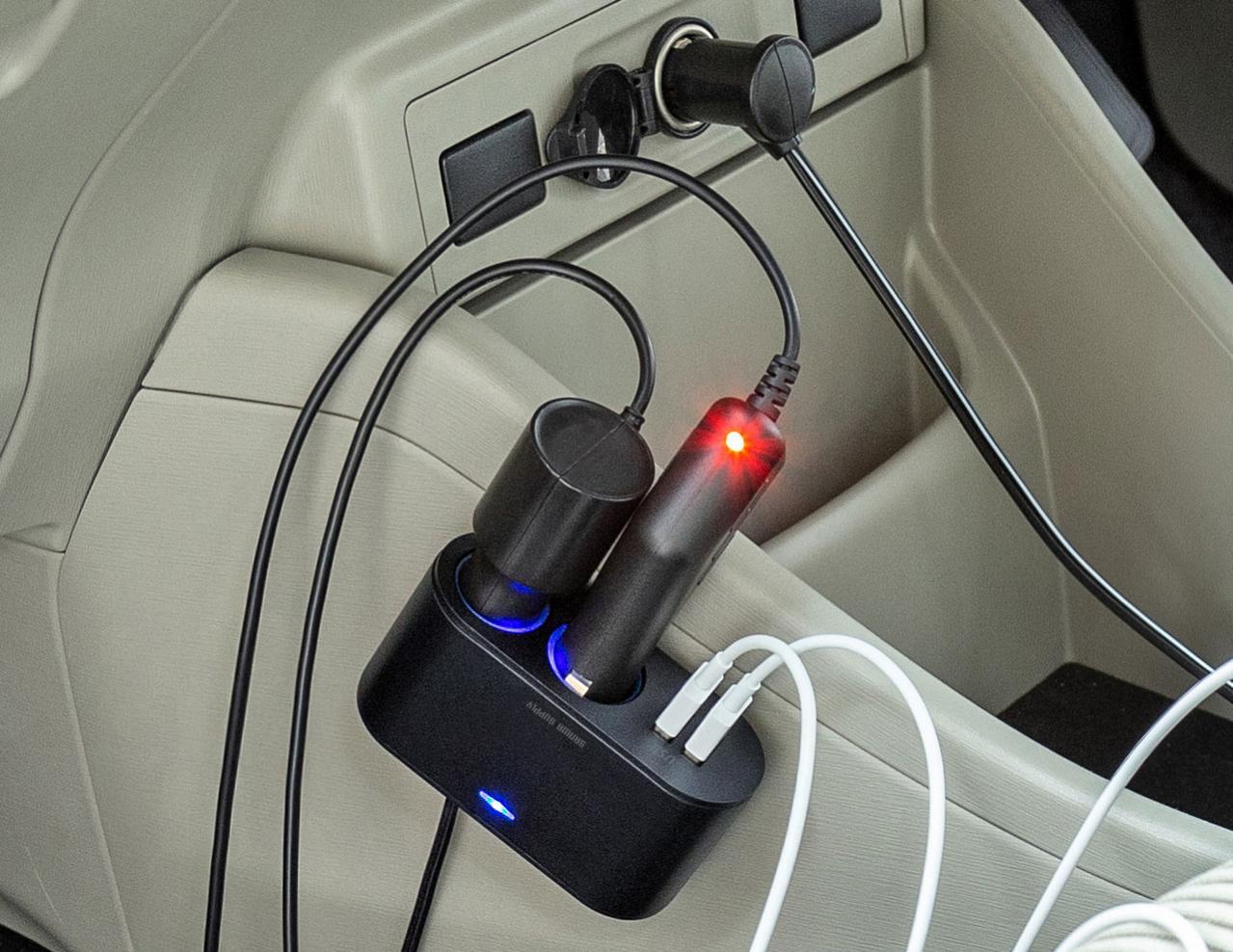 4口充電の欲張りタイプ! サンワサプライ USB充電2ポート付き2連ソケット CAR-CHR78CU 【CAR MONO図鑑】
