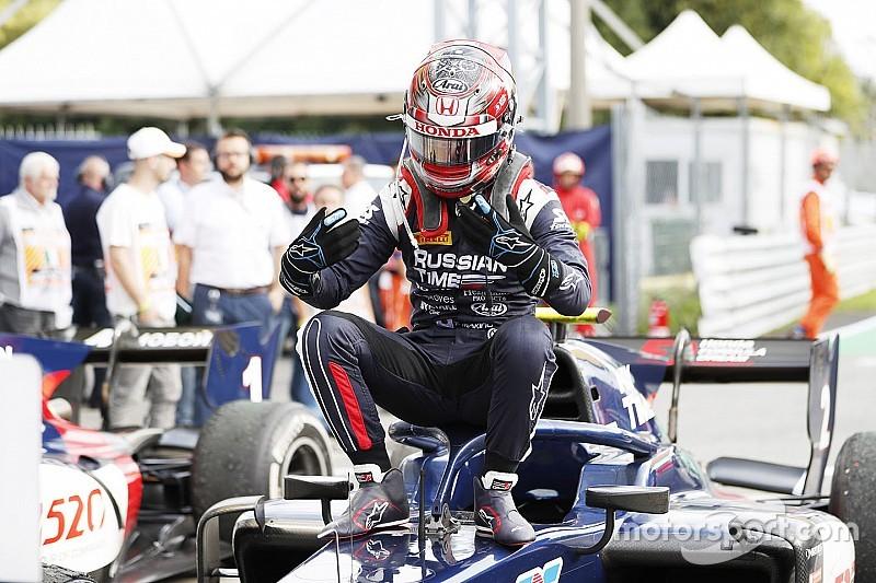 牧野任祐、F2初優勝の喜びを語る。「トップだと最終ラップに言われ、ビックリした」|FIA F2選手権モンツァ・レース1