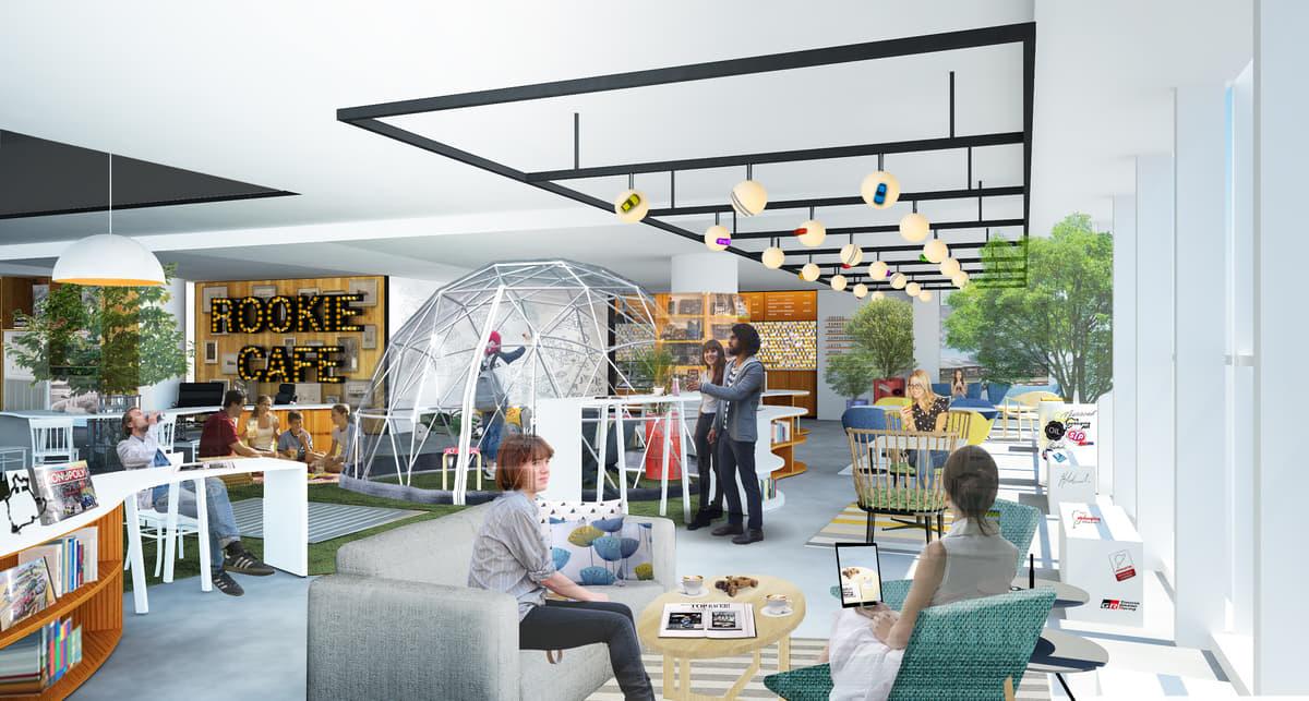 テーマパーク「メガウェブ」のカフェが北欧風にリニューアル!レーシングマシンも展示