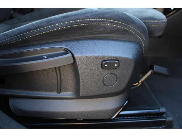 Mスポーツ専用シートが装備されております。座席調整レバーはシンプルで操作がしやすくなっております。