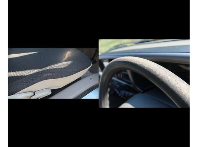 を挙げますと、運転席シートにスレがあります。ハンドルにスレがあります。キーレスが欠品しています。フロントガラスに飛び石の傷跡があります。気になる部分としては以上です。次に外装の説明をします