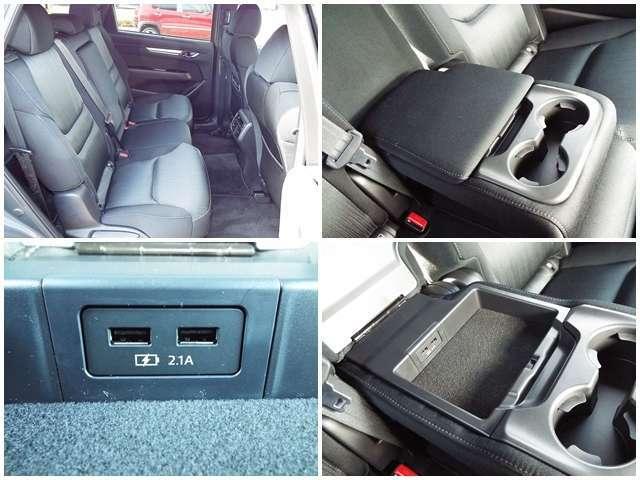 後席にはドリンクホルダー付きアームレスト、USBポートの搭載もございます!