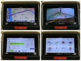 社外ナビRカメラ Bluetooth 地デジ こちらナビゲーションの各画面です。安心のバックカメラなどドライブの快適サポートが満載です。