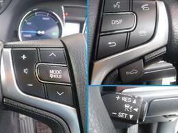 レーダークルーズコントロールなどのステアリングスイッチ、手を伸ばすことなく手元で操作でき安全です。