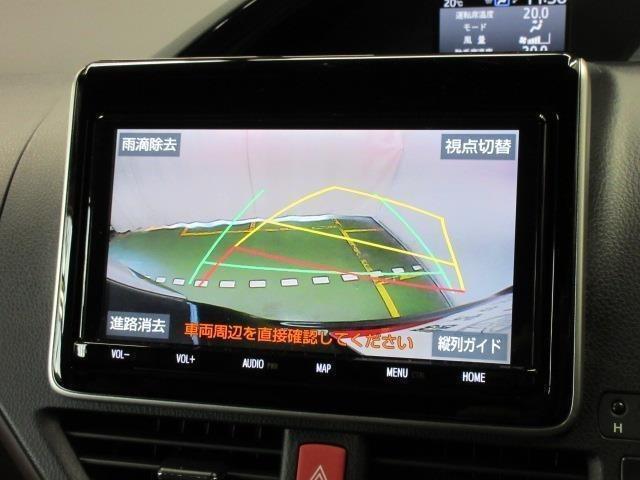 バックでの車庫入れは、ハンドルと連動したガイドラインが出る『バックモニター』がサポートいたします。