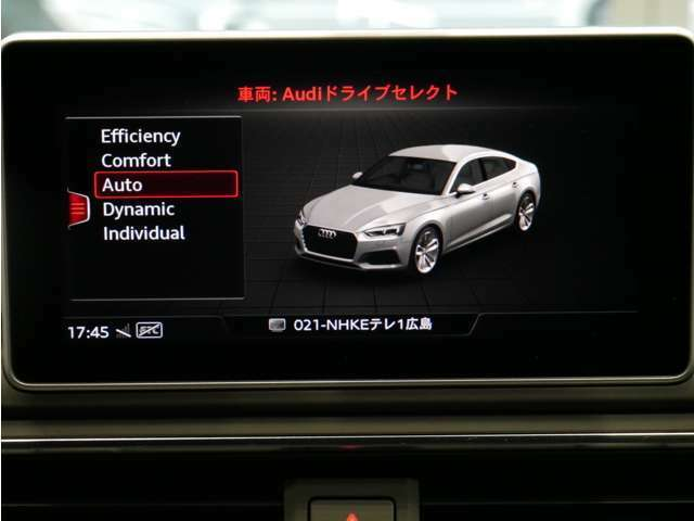 ドライバーの好みに合わせて、サスペンション、パワーステアリング、エンジン、オートマチックなどの特性をスイッチ一つで切り替える電子制御システム、Audiドライブセレクト