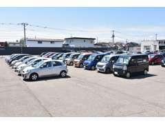 十勝管内有数の広さを持つ展示場には、見やすくスペースを取って展示しております。軽自動車からミニバンまで幅広く展示。