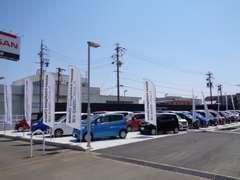 広い展示場に多数お車並べております!かっこいい車、かわいい車、スタイリッシュな車なんでもご用意してあります★