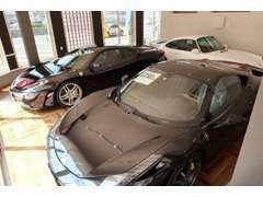 店内展示場です。展示車両は常に優れたコンディションでご覧頂けるよう心がけております。