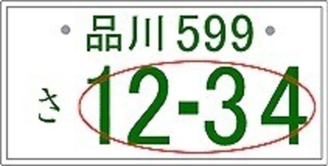 Aプラン画像:お気に入りの数字、ラッキーナンバー、お誕生日などを愛車のナンバーに付けてドライブしてはいかがでしょうか?