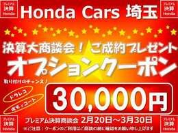 ご購入のお客様にオプションクーポン3万円分プレゼント。