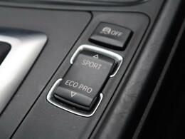 ●BMWモードセレクト『スポーツモードではダイナミックな走りを。ECOPROモードでは、エンジンレスポンスやシフトタイミングの最適化に加え、エアコンの作動も効率的に制御し、燃料消費量を抑制します。』