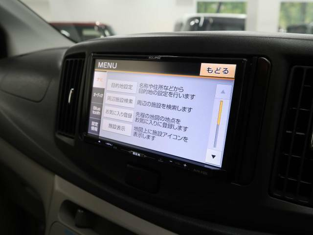 【ナビゲーション】目的地までしっかり案内してくれる使いやすいナビ。Bluetooth接続すればお持ちのスマホやMP3プレイヤーの音楽を再生可能!毎日の運転がさらに楽しくなります!!