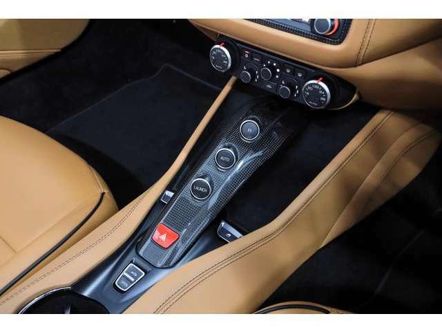 オプションのカーボンパネル仕立てのセンターコンソールです。リバースギアはセンターコンソール中央のRボタンで選択します。