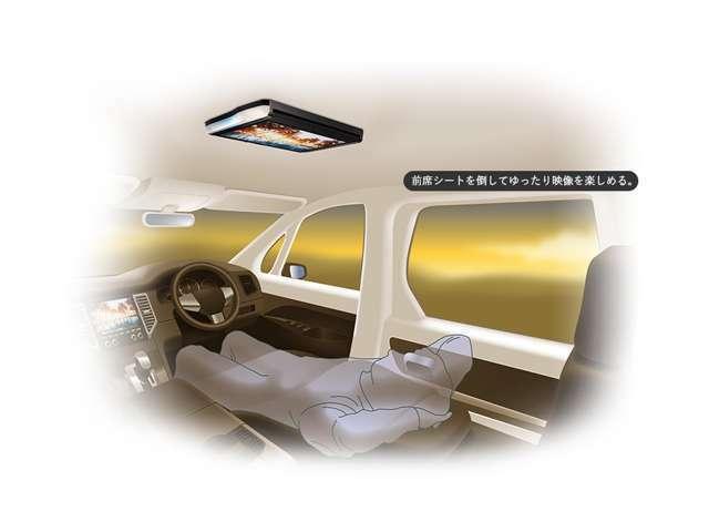 Aプラン画像:モニターが開いてるときはもちろん、モニターを閉じた状態でも映像を視聴することができる「エニタイムビジョン」を搭載。前席シートを倒した状態でもゆったり映像を楽しむことができます。