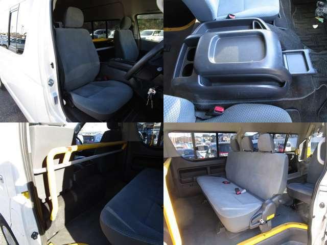 フロントシートはセンターを可倒すれば、テーブルとして使用可能です。 フロントハンドレール付3人掛けタンブルシートです。 シート類も問題無し