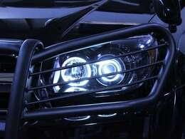 新品社外ヘッドライト。インナーは黒でペイントされ純正とは一味違う印象に変わりました。イカリングライトで夜の表情はさらに輝きを増します。