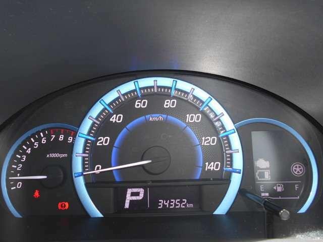 自発光式の3連メーターです。走行距離は34,352kmです。