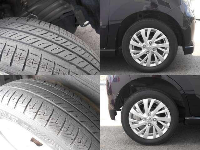 タイヤの状態です!純正アルミホイール装着車☆☆タイヤサイズは155/65R14です。