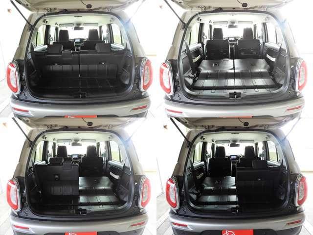 リヤシートは荷室からリクライニングやシートスライドが可能で、とにかくシートアレンジがしやすい!ラゲッジ下には取り外し可能な下部収納スペースが備わっていてベビーカーも立てて詰めちゃいます♪