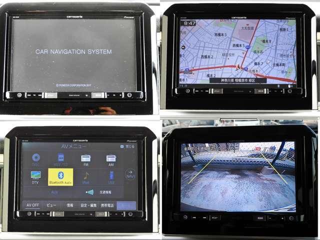 ナビゲーションはpioneerカロッツェリア。8インチモニターで見やすく操作しやすいです。フルセグTV視聴やDVD再生、Bluetooth接続も可能です。