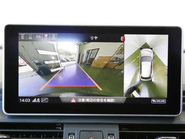 バックモニター、フロントモニター、サラウンドカメラ付きで車庫入れも安心です。