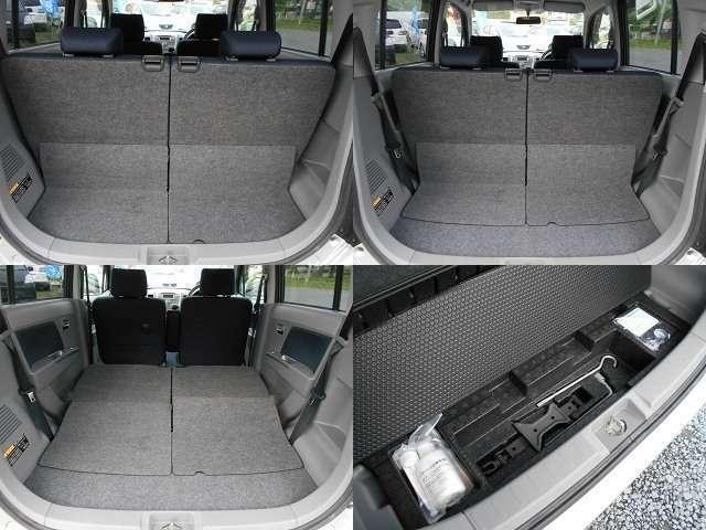 荷室は後部座席をスライドすることで座席を倒さなくても広く確保できます。格納することで大きく確保も出来ますよ。