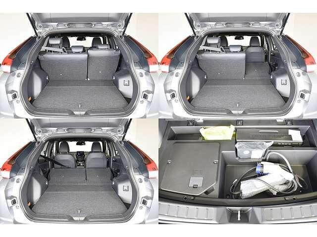 リヤシートを分割して倒せますので、工夫次第で色々な荷物が積めます。