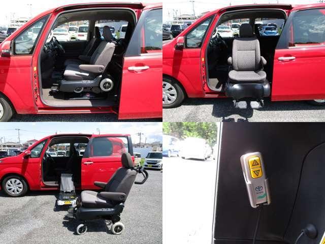 サイドアクセス車 Aタイプ 手動車いす用収納装置 脱着シート仕様手動式で、助手席が脱着できます。 リモコン操作も可能です。